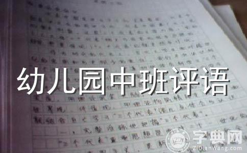 【热】中班幼儿评语范文汇总14篇